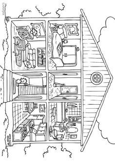 Coloring Page house - interior - free printable coloring pages House Colouring Pages, Cat Coloring Page, Coloring Book Pages, Free Coloring Sheets, Free Printable Coloring Pages, Clipart, Art Lessons, Worksheets, Educational Activities