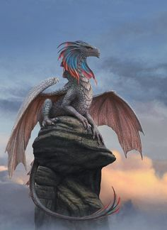 Continuing with the fantasy creatures. Dragon on the rock Mythical Creatures Art, Magical Creatures, Mythical Dragons, Dragon Sketch, Cool Dragons, Beautiful Dragon, Beautiful Dark Art, Dragon Artwork, Dragon Rider