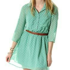 Mint green dress Very cute lightweight dress, great for spring! Only wore once! Note: picture one looks just like my dress, it's only missing the two pockets on the chest. Rue 21 Dresses Midi