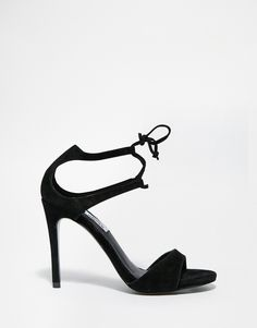 Image 1 ofSteve Madden Semona Black Tie Up Barely There Heeled Sandals