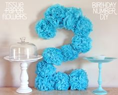 DIY Birthday Number. Simple to make... cardboard, tissue paper, and hot glue gun!