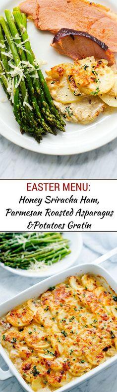 Our Easter Menu:  Honey Sriracha Ham, Goat Cheese Potatoes Gratin & Roasted Asparagus - - WendyPolisi.com - #sponsored #SnakeRiverFarms