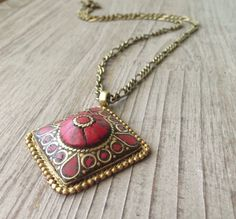 Diamond Coral Pendant Necklace by IsabellaRaeJewelry, $42.00
