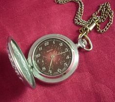 Vintage Hunter pocket watch MOLNIJA with open case. Made in USSR, Russia. NEW, Old STOCKs.