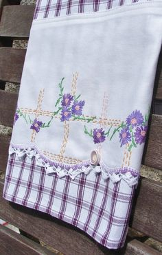 Mother's Day Sweet Pruple Posies Tea Towel by TwoGirlsLaughing