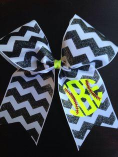 Monogrammed softball bow by PalmettoPrincessShop on Etsy … Softball Crafts, Softball Bows, Softball Shirts, Girls Softball, Softball Players, Cheer Bows, Baseball Mom, Softball Stuff, Volleyball