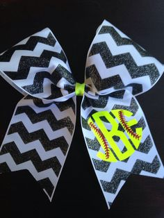 Monogrammed softball bow by PalmettoPrincessShop on Etsy