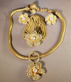 Vintage Miriam Haskell Signed Bracelet, Necklace & Matching Earrings!  RARE Set! #MiriamHaskell