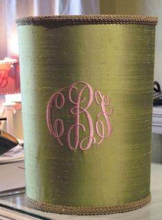 Jan Sevadjian Silk Monogrammed Waste Basket - The Monogram Merchant