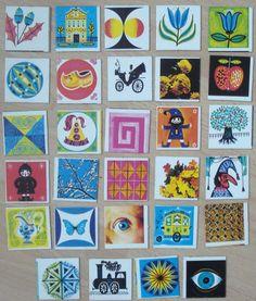 Vintage memory kaarten, 29 stuks, 5 x 5 cm, jaren '70, karton, spelonderdelen, hobbymateriaal   [B] by LabelsAndMore on Etsy
