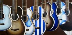 Wall Art Blue and Brown Guitar Paintings two by MurrayDesignShop