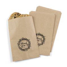 Kraft treat bag, no lining with foil stamped design in black.