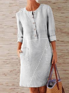 2020 Fashion Stripe Shirt Dress Women Celmia Plus Size Long Sleeve Pockets Midi Dress Long Tops Casual Loose Party Vestidos Robe Dress Outfits, Casual Dresses, Fashion Dresses, Summer Dresses, Summer Outfit, Fashion Fashion, Spring Fashion, Womens Fashion, Striped Shirt Dress