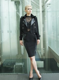 YAN NEO LONDON DESIGNER - Black Cropped PU Leather-Look Collared Jacket by Yan Neo designed in United Kingdom