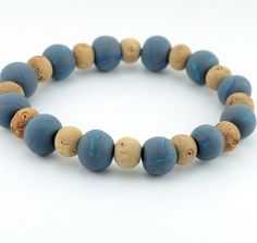 Mens Grey & Blue Surfer Bracelet by DysfunctionDesigns on Etsy, £9.00
