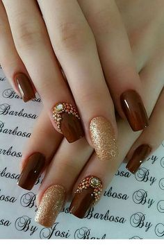 77 Trendy Brown Nail Art Designs and Ideas - Brown nail designs are of great diversity because they have dominated the market since a long time - Brown Nail Art, Gold Nail Art, Brown Nails, Gold Art, Edgy Nail Art, Brown Art, Glitter Nails, Fun Nails, Red Glitter