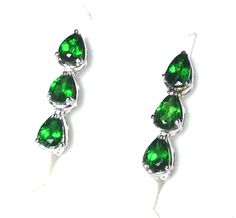 Russian Chrome Diopside Earrings 5/8 inch click-back Sterling Silver 1.45 Ctw. #BlueGemstoneJewelry #DropDangle