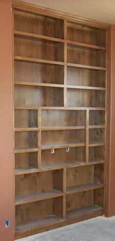 Since the Man Cave will also double as an office he'll need some built-in bookshelving. This will go right behind his desk.