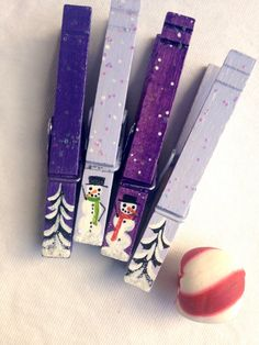 CHRISTMAS CLOTHESPINS hand painted purple and lavender snowman couple snow covered trees magnet package decor hostess gift by SugarAndPaint on Etsy