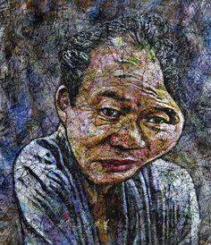 YiPyung Kim 김이평 // 'Portrait of Park, Young Jae' '박영재의 초상' // 85x99cm, Reactive dye, Acid dye, Silk, 2014