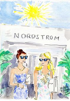 Love this sketch of girlfriends shopping at Nordstrom by the Lilly Pulitzer print studio.