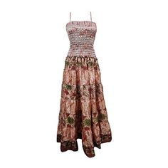 Mogul Interior Womens Maxi Dress Beige Flowy Smocked Bodice Hippie... ($37) ❤ liked on Polyvore featuring dresses, maxi length dresses, hippy dress, sundress dresses, brown sundress and beige maxi dress