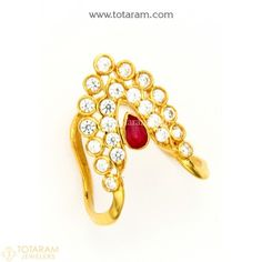 Buy Gold and Diamond Jewelry gifts Online that are made in India and ship from Totaram Jewelers Online in New Jersey USA Indian Wedding Rings, Gold Wedding Jewelry, Gold Rings Jewelry, Diamond Jewelry, Beaded Jewelry, Vanki Designs Jewellery, Indian Gold Jewellery Design, Jewelry Design, Vaddanam Designs