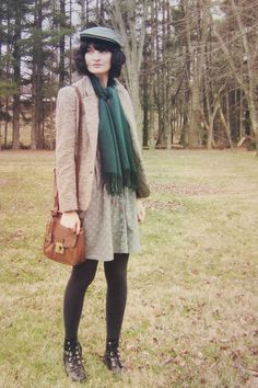 """Teal Cotton Mata Traders Dresses, Black Ankle Boots, Tan Tweed Blazers 