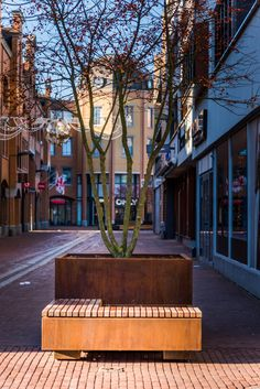 POC Combination Planter Square High and Planter Square Low with Wood Cover L Shape by Public Outdoor Creations