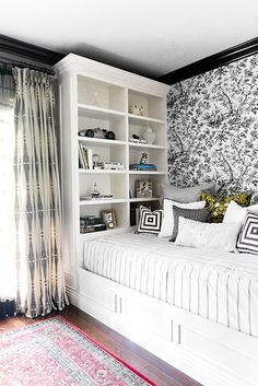 I Like the Black & White, Pattern on Pattern Concept, Just Not the Built-In Bookcase Plunked in the Corner, It Looks Rather Awkward to Me.
