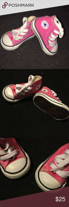 INFANT CONVERSE: PINK INFANT PINK HIGH TOP CONVERSE ! Size US 2, UK 2, EUR 18, CM 11. They are previously worn by my daughter! But still in good condition!  Converse Shoes Sneakers