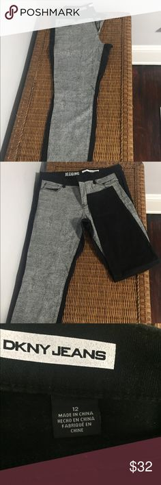 DKNY Jeggings Dual sided stretchy jeans from DKNY. Worn only once. Form fitting gray front with pockets. Black backside with two back pockets. Dkny Jeans Skinny