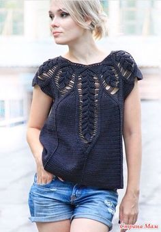 Top_Down Crochet Charts Crochet Woman, Love Crochet, Beautiful Crochet, Knit Crochet, Crochet Top Outfit, Crochet Cardigan, Crochet Clothes, Crochet Fashion, Pulls