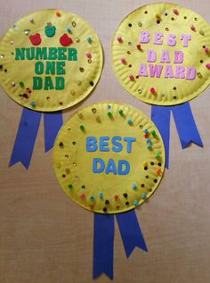 Cute preschool Father's Day craft. Paper plate, paint, beads, sequins and construction paper. From the Firefly class.