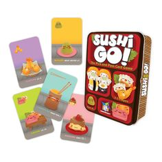 Pass the sushi. In this fast-playing card game, the goal is to grab the best combination of sushi dishes as they whiz by. Score points for making the most maki rolls or for collecting a full set of sa