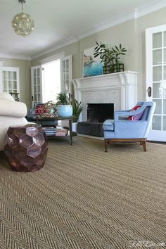 Love the three sets of French doors in this beautiful living room and the neutral seagrass rug with Large Living Room Rugs, Narrow Living Room, Living Room Shelves, Living Room Carpet, Rugs In Living Room, Living Room Decor, Large Area Rugs, Collage Simple, Long Narrow Rooms