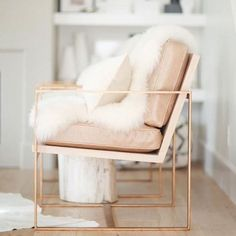 Awesome Blush Pink Accent Chair For Your Interior Decor: Transitional Blush Pink Accent Chair With Brushed Brass Base For Attractive Living Room Design Deco Design, Design Trends, Design Ideas, Design Projects, Take A Seat, Home And Deco, My New Room, Home Decor Inspiration, Design Inspiration