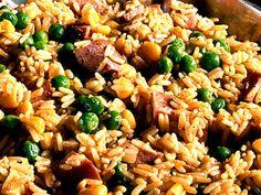 Risotto med falukorv majs och ärter