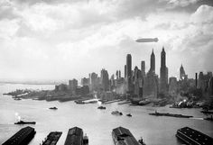Hindenburg over Manhattan on May 6, 1937, hours before disaster