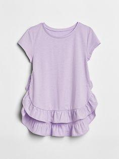 a31e1fe7c Gap Girls Ruffle-Hem T-Shirt Purple Lotus Camisa Listrada, Listras, Blusas