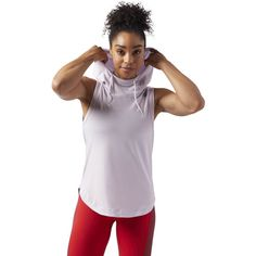 Reebok Workout Ready Sleeveless Hoodie ($45) ❤ liked on Polyvore featuring activewear, activewear tops, apparel, quartz, reebok activewear, reebok sportswear and reebok