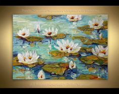 Acrylic and Oil large Magnolia Painting on canvas von Artcoast