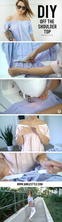 Learn How Easy it is to make this DIY off the shoulder top #diyshirts