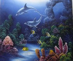 """Wall Art Decorating Ideas Oil Painting Reproduction Animal Dolphin, Size: 24"""" x 20"""", $87. Url: http://www.oilpaintingshops.com/wall-art-decorating-ideas-oil-painting-reproduction-animal-dolphin-2518.html"""