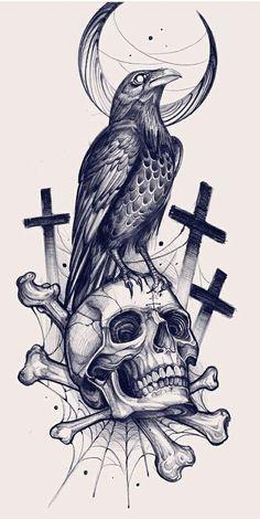 Tattoo Outline Drawing, Tattoo Design Drawings, Skull Tattoo Design, Tattoo Sketches, Art Sketches, Dark Art Drawings, Animal Drawings, Backpiece Tattoo, Tattoo Posters