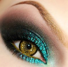 Black, brown and green eyeshadow