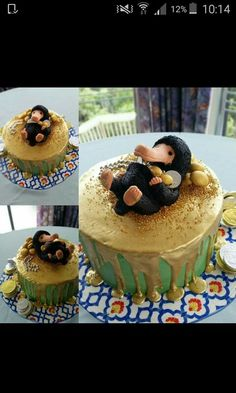 Don't invite a Niffler to your party Harry Potter Torte, Harry Potter Birthday Cake, Harry Potter Food, Fondant Cakes, Cupcake Cakes, Cupcakes, Cake Paris, Anniversaire Harry Potter, Creative Cakes