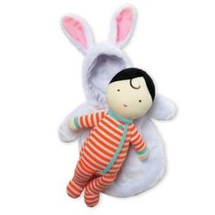 Snuggle Baby Bunny! Cuddle up close with the Snuggle Baby Bunny! Soft doll comes with plush, hooded sleep sack. Bunny themed sleep sack includes Velcro-like closure. Ages 6 months+Measures 8L x 15H x 4W in. Measures 20L x 38H x 10W cm. Surface wash only.