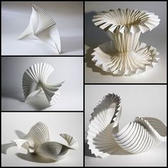 Pleated Paper Sculptures - paper art with striking architectural structures; paper manipulation // Richard Sweeney