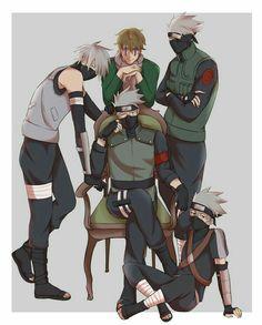 A lot of Kakashi senseis Kakashi Sharingan, Naruto Kakashi, Naruto Shippuden Sasuke, Anime Naruto, Naruto Boys, Naruto Comic, Naruto Cute, Naruto Funny, Anime Guys